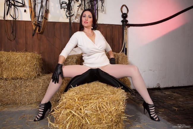 Pantyhose High Heels, Miss Hybrid, magic wand, nipples, busty, voluptuous, hitachi magic wand