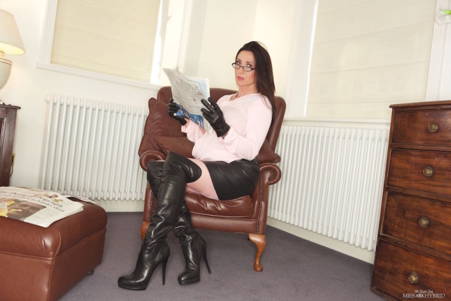 leather gloves, Miss Hybrid, thigh boots, leather skirt, stockings, nylons, stocking tops, dildo