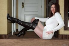 Thigh boots Thursday with Miss Hybrid in the bedroom.